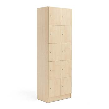 Wooden compartment locker, 2 modules, 10 doors, 1935x645x410mm, birch