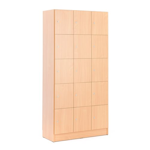 Wooden compartment locker 3 modules 15 doors for Wood lockers with doors