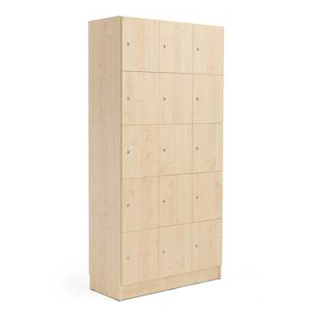 Wooden compartment locker, 3 modules, 15 doors, 1935x960x410mm, birch