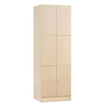 Wooden compartment locker, 2 modules, 6 doors, 1935x645x410mm,  birch