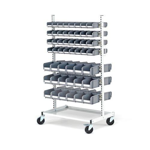 Mobile storage bin rack: 100 bins