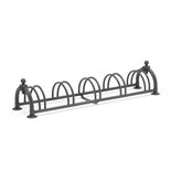 Black cycle rack: 5 bikes