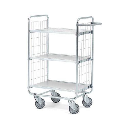 Wózek o 3 półkach, Wymiary półki:600x425 mm, Wysokośś wózka: 1100mm