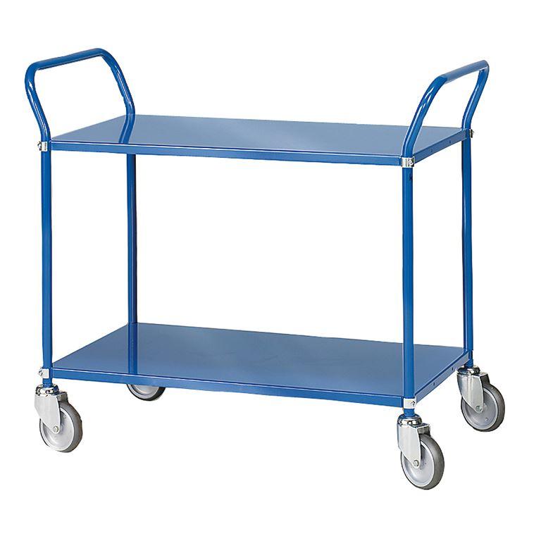 Niebieski wózek serwisow z 2 półkami, Wysokość: 940mm
