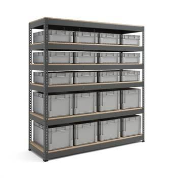 Komplett reol med 20 kasser