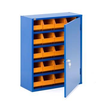 Oppbevaringsskap med bokser, 800x660x275 mm, blå