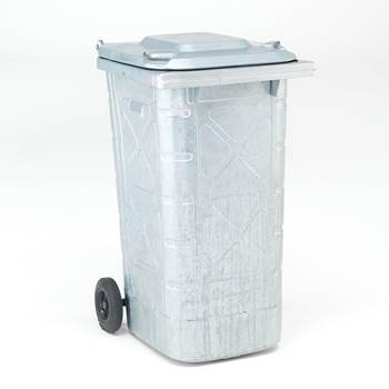 240L wheelie bin: galvanised steel