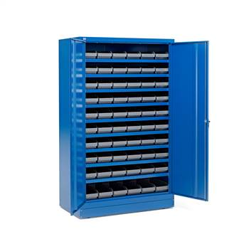 Cabinet with 60 x 6.1 L boxes, blue