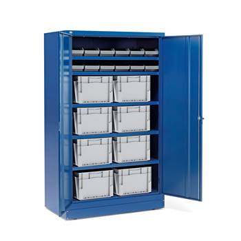 Cabinet with 12 x 6.1 L + 8 x 50 L boxes, blue