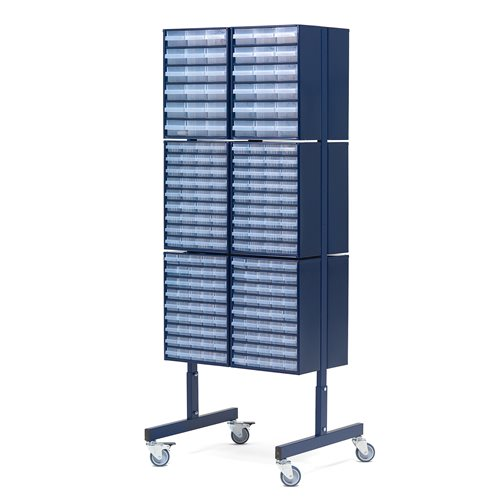 Double sided mobile small parts cabinet