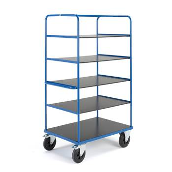 Platform trolley,  5 shelves, brakes, 2 fixed + 2 castors, 800x1200 mm