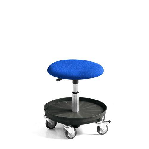 Työjakkara Midi, pyörät, pehmustettu istuin, 360-480 mm, sininen