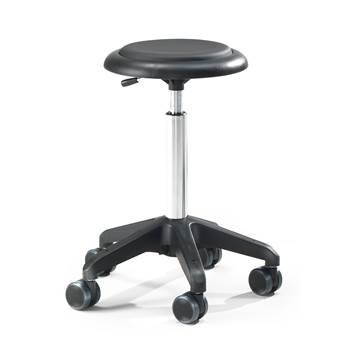 Czarny stołek warsztatowy tapiceowany skajem bez oparcia