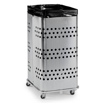 Refuse bag stand, without lid, 900x450x450 mm, 125 L, silver