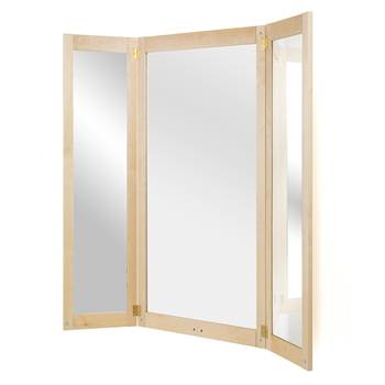 Full-length three-piece folding mirror, 670x1320 mm, birch