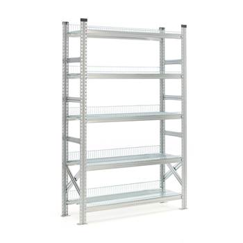 Galvanised storage shelving, basic unit, 5 shelves, 1972x900x500 mm