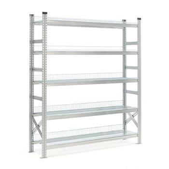 Galvanised storage shelving, basic unit, 5 shelves, 1972x1200x400 mm