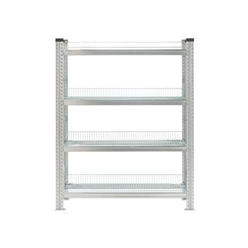 Galvanised storage shelving, basic unit, 4 shelves, 1576x900x400 mm