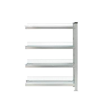 Galvanised storage shelving, add-on unit, 4 shelves, 1576x900x400 mm