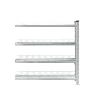 Galvanised storage shelving, add-on unit, 4 shelves, 1576x1200x400 mm