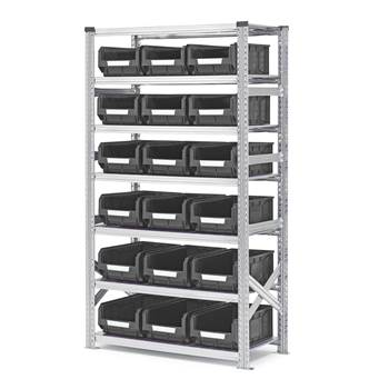 Shelving with small parts bins, basic unit, 1972x1050x500 mm + 18 x grey bi