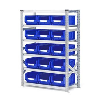 Shelving with small parts bins, basic unit, 1576x1050x500mm + 15 x blue bin