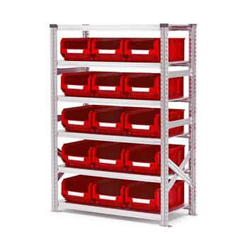 #en Shelf basic 1576x1050x500mm with 15pcs red bins
