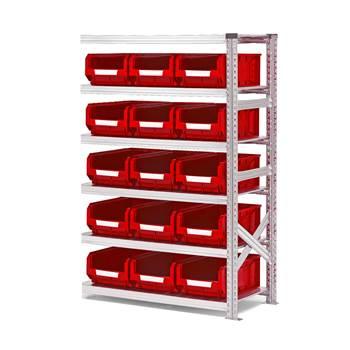 #en Add on unit 1576x1050x500mm with 15pcs red bins