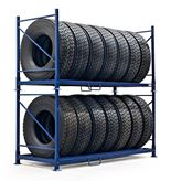 Tyre rack system for truck tyres