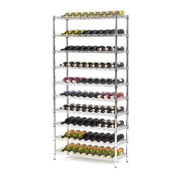 Trådhylla med 10 st hyllor för vinflaskor, 1825x900x355 mm