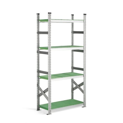 Moduł podstawowy regału 900x400x1972mm, Kolor półek: zielony
