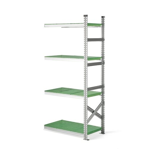 #en Add-on section with plastic shelves H 1970 x W 900 x D 500 mm. green