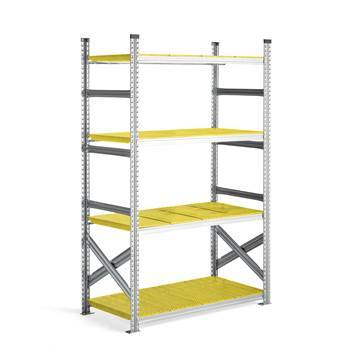 #en Galvanised food shelving, basic unit, 1972x1200x600 mm, yellow shelves