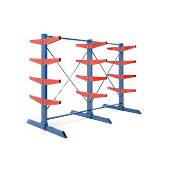 Heavy-duty cantilever racking package, 600 mm arms, 12000 kg load