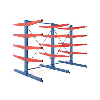 Heavy-duty cantilever racking package, 1000 mm arms, 6600 kg load
