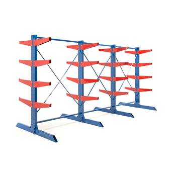 Heavy-duty cantilever racking package, 600 mm arms, 16000 kg load