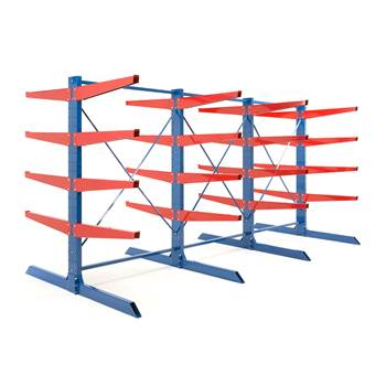 Heavy-duty cantilever racking package, 1000 mm arms, 8800 kg load
