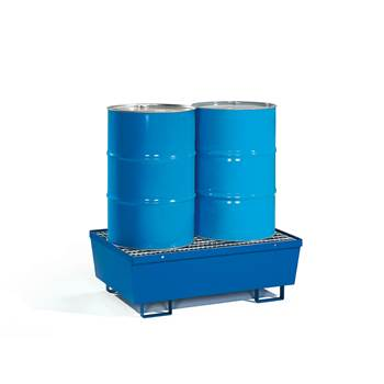 Drum pallet + mesh grid, 2 vertical drums, 1200x800x415 mm