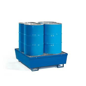 Drum pallet + mesh grid, 4 vertical drums, 1200x1200x335 mm