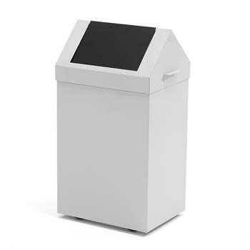 Avfallsbeholder med vippelokk, 70 liter, grå