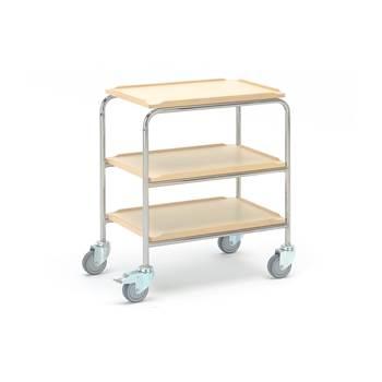 Rullebord, 600x400 mm, 3 hylleplater, bjørk