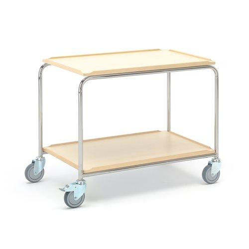 #en Table trolley 900x550mm 2 shelves, birch