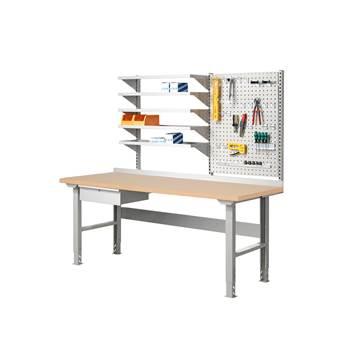 Komplett Arbeidsbord med Verktøytavle og Hyller, Hærdet Bord