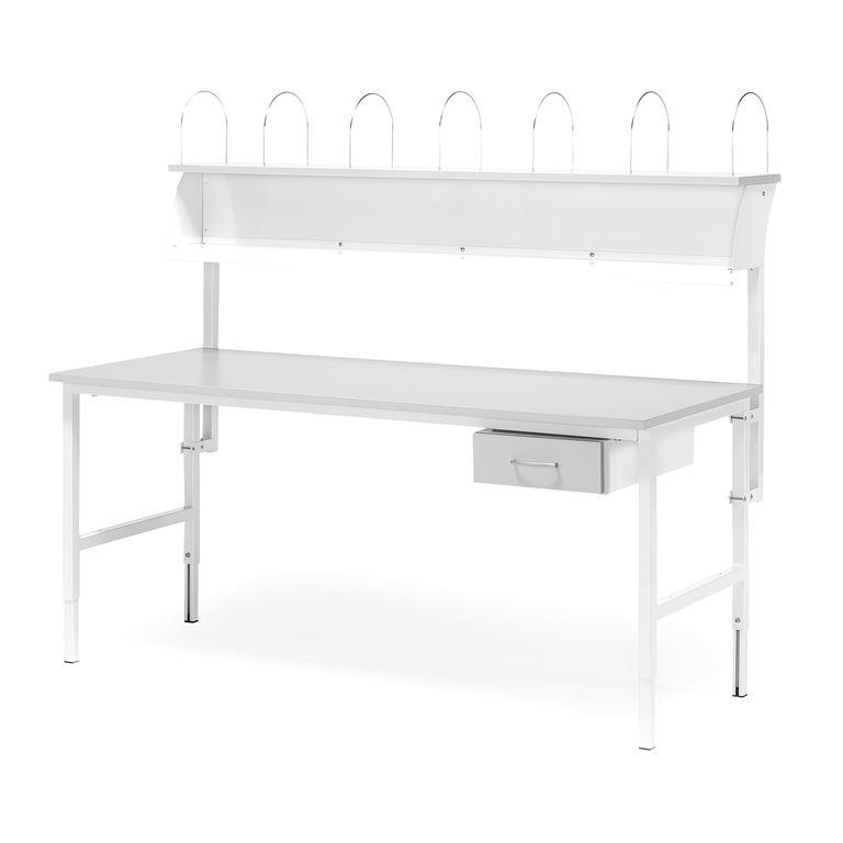 Paketti: Työpöytä teollisuuteen, 1600x800 mm, 1 laatikko + ylähylly, harmaa