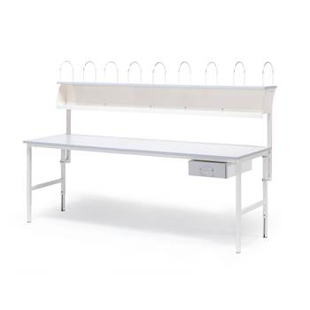 Worktable with 1 drawer + 1 top shelf, 800x2000 mm, grey