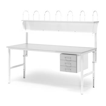 Worktable with 3 drawers + 1 top shelf, 800x1600 mm, grey