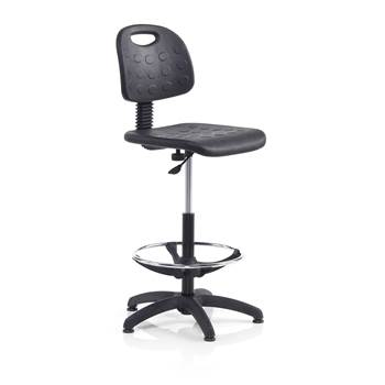 Budget factory chair, with foot ring, H 540-800 mm, black
