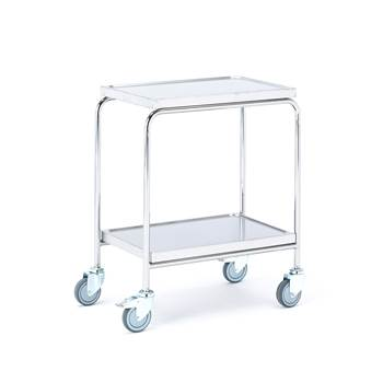 Stainless steel shelf trolley, 150 kg load, 2 shelves, 600x400x800 mm