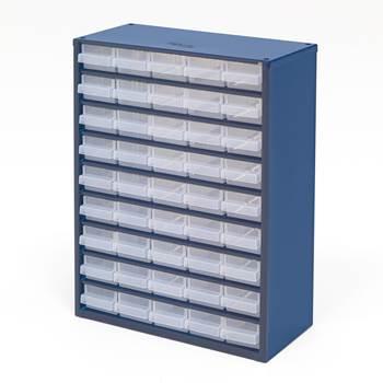 Szafka z 45 plastikowymi pojemnikami