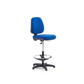 Soft workshop chair, with footrest, 635-815 mm, blue fabric